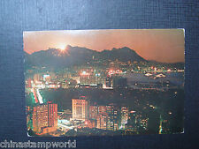 old  hk postcard,eastern district at night,no.275