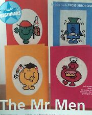 4 X Mr Men Cards Cross Stitch Chart