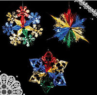 3pcs Christmas Foil Ceiling Hanging Decoration Xmas Hangers 40cm Multi Colour