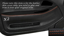 ORANGE STITCH 2X FRONT DOOR CARD TRIM SKIN COVERS FITS HONDA CIVIC COUPE 92-95