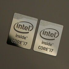 2x Intel Core i7 Logo Chrome Metal Sticker / Haswell Case Badge Stickers 16x21mm