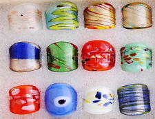 12PCS Charms Summer Style Murano Glass Lampwork Rings IN Box FREE Wholesale Lots