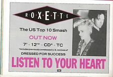 ROXETTE Listen To Your Heart UK magazine ADVERT / Poster 8x6 inches