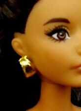 2016 Barbie Jewelry Model Muse The Look Pool Chic Doll Gold Earrings ONLY