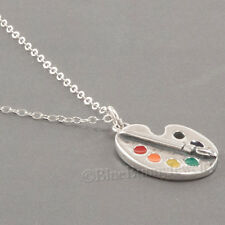 PAINT PALETTE Enamel Artist brush Charm Pendant 925 STERLING SILVER Art Necklace