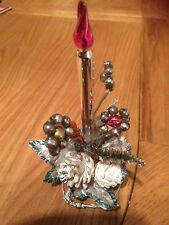 Vintage1940/50sfoil leaf,pipe,cone mercury glass beads,candle christmas orniment