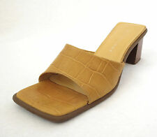 Bandolino 7 Kelly Yellow Maize Leather Croc Womens Heels Slides Sandals Shoes