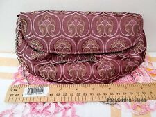 NWOT ACCESSORIZE DEEP PINK FABRIC SMALL EVENING BAG/PURSE WITH CHAIN HANDLE