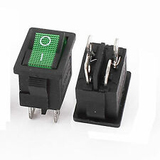 Green Lamp 4 Pins DPST On/Off Boat Rocker Switch AC 250V 10/6A 125V 10/6A