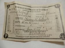 1921 Improved Order of the Red Man Dues Reciept