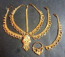 22K Gold Plated Combo 5 Lines Tyra Tikka Nose Ring Chain Indian Wedding Set 2