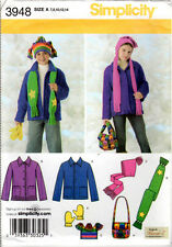 "UNCUT Simplicity Sewing Pattern 3948 ""Boys' & Girls' Jacket, Hats, Scarf, Bag, +"