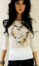 MARCCAIN Pullover Donna N1 34 XS Cotone bianco mit FLOWERHERZ