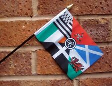 "CELTIC NATIONS HAND WAVING FLAG small 6"" x 4"" with 10"" pole SCOTLAND EIRE WALES"