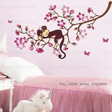 Pink Monkey Tree Blossom Wall stickers Wallpaper Art Mural Decal Girls Nursery