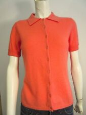 Neiman Marcus, Carrot Cashmere Collared  Short Sleeve Button Up Cardigan Sz M