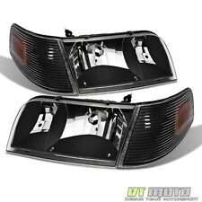 Black 98-11 Ford Crown Victoria Headlights +Corner Turn Signal Lamps Left+Right