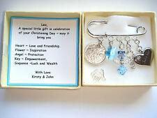 CHRISTENING BAPTISM  SWAROVSKI ELEMENT PERSONALISED BABY BOY LUCKY SIXPENCE GIFT