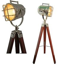 Floor Searchlight With Wood Base Tripod Stand Brown Color Spotlight