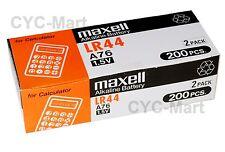 New 0% Hg Maxell  LR44  AG13  A76 Batteries 500 pcs Original Packing FREE Post