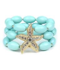3 Strand Lt Mint Lucite Bead Gold Tone StarFish Stretch Bracelet