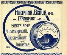 Hartmann & Braun AG Frankf.a.M. ELEKTRISCHE INSTRUMENTE Historische Reklame 1913
