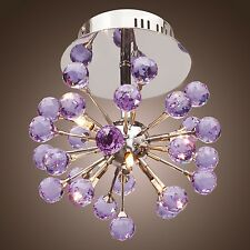 Modern Contemporary Globe Crystal Chandelier Ceiling Pendant Lamp Light Purple