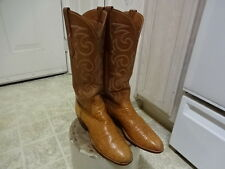 VINTAGE SAN ANTONIO LUCCHESE OSTRICH WESTERN BOOTS MADE IN USA WON 7 AA GOOD