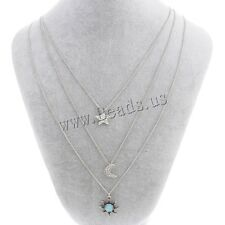 Fashion Choker Chunky Statement Crystal Star Moon Sun Pendant Necklace Chain