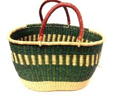 African Tribal Straw & Leather Shopping Bolga Basket Bag Large Shoulder Tote XXL