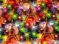 "27"" REMNANT PARIS  EIFFEL TOWER  FIREWORKS 100% COTTON FABRIC TIMELESS TREASURES"