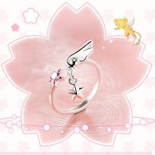 Anime Card Captor Sakura Women's Ring Pendant 925 Silver Crystal Adjustable Size