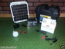 12V DC RECHARGEABLE BATTERY W PORTABLE FAN & LIGHT W SOLAR, AC, & CAR CHARGERS