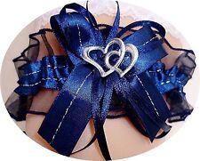 XXL Strumpfband Braut dunkelblau blau nachtblau mit Schleife Herzchen Silbernaht