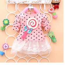 NWT Baby Girls Lollipop Polka Dot Long Sleeve Lace Dress Tutu Skirt Pink, Size M