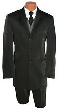 38R Black Tuxedo Silver Metallic Sparkle Entertainers Suit Prom Party Tux Outfit