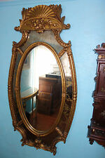 ANTIQUE GOLD LEAF GOLD VEIN OVAL WALL MIRROR 1819?