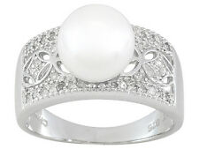 9mm White Cultured Freshwater Pearl W/Diamond .20ctw Round Sterling Silver Ring