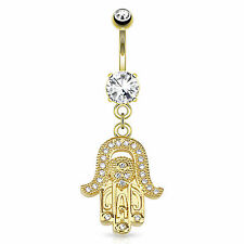 14K Gold Plated Hamsa CZ Gem Paved Dangle Navel Belly Ring Barbell