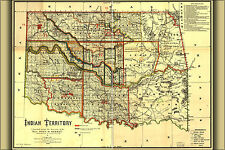 24x36 Poster; Map Of Indian Territory Oklahoma 1889; Antique Reprint