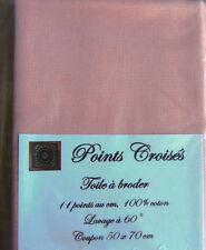 TOILE A BRODER 11 pts au cm ROSE ANCIEN, grand coupon 50 x 70 cm
