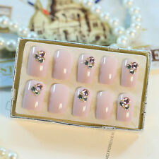 False Nails with Rhinestones 24 Pcs Full Light Nude Artificial Nails
