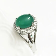 Solid 925 Sterling Silver Green Oval Jadeite Jade TRANSPARENT Solitaire Ring 103