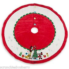 Disney Store Christmas Tree Skirt Minnie Mickey Mouse Pluto Red White 2014 New