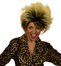 Mesdames 80s Pop Star Perruque Blonde Marron ROCK Diva TINA TURNER enfant sauvage Fantaisie Dres
