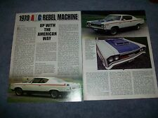 "1970 AMC Rebel Machine History Info Article ""Up With The American Way"""