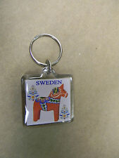 Scandinavian Swedish Dala Horse Lucite Keyring with Sweden & Kurbits Flowers