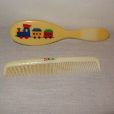 Vintage Deluxe Baby Comb Brush Set Train Flowers Boy Girl Novelty