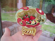 REAL Hand Decorated Carved Goose Egg Collectible Strawberries Mushroom Bird