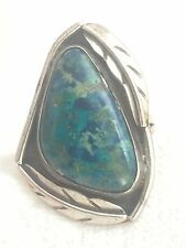 Vintage Sterling Silver Turquoise Southwest  Ring Size 6.75 7.2g Tribal